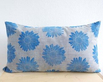 Pillow Blue Marguerite Organic Cotton Hand-Printed laKattun