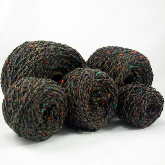 brown tweed reclaimed DK weight wool yarn, 550 yards