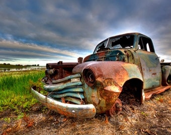 Fine Art Print of a 5 window Chevy Pickup rusting away in all its glory in a farmers field