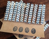 "NEW COLOR ** Chevron Clothespins ""Navy"" - Set of 10 Handstamped Clothes Pins"