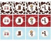 COWBOY SILHOUETTE cupcake toppers - YOU Print