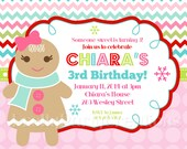 GINGERBREAD GIRL invitation - You Print - 4 to choose