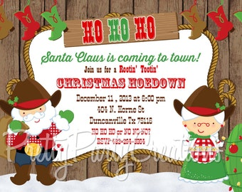 SANTA HOEDOWN Christmas invitation - YOU Print