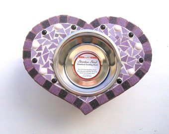 Medium Heart Diner, single bowl feeder, posh pet bowl, elevated dog bowl
