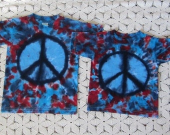 Tie dye shirt, Patriotic PEACE in  Youth Small-- Ready to ship today
