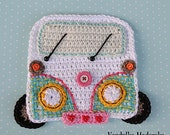 Crochet car / camper coaster - crochet pattern, DIY