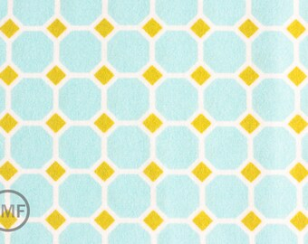 Half Yard FLANNEL Izzy Honeycomb in Aqua, Ann Kelle, Robert Kaufman, 100% Cotton Fabric, AAKF-11195-193