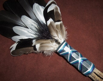 Smudge Fan- Illumines Abundance  - Sacred Prayer Fan with a Selenite Crystal - Made to Order