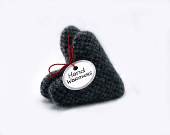 Hand Warmers Harris Tweed GRAY & BLUE Houndstooth Hearts Eco Masculine Gift