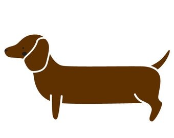 Dachshund Dog Wall Stencil for Painting Kids or Baby Room Mural  (SKU300-istencil)