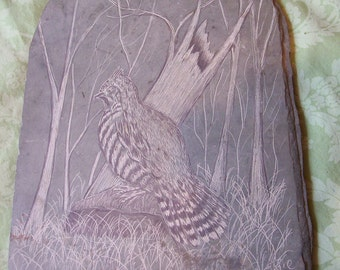 Slate carved picture Quail handcarved wall hanging rustic western masculine rugged
