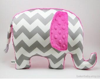 Elephant Pillow, Organic Cotton, pink grey nursery, gray chevron elephant