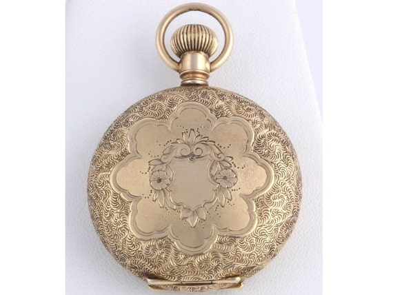 Floral Engraved Elgin Vintage Pocketwatch Locket Pendant - 14k Yellow Gold 58.2g Watch w9720 R