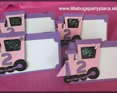 Train, Pink, Tent Cards, Place Cards, Girl Train Party -- SET of 12