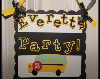 School Bus Party Door Sign - Personalized