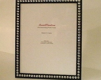 BLACK & BLING Picture Frame -Black w/ Clear Rhinestones for 8 x 10 Photos or info