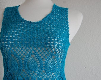 Crochet Tank top Tunic in Pineapple Motif Blue Cotton Size X Small/ Small