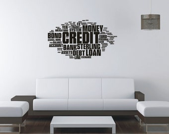 LARGE CREDIT  Vinyl Decal  Wall Sticker  Wall Tattoo