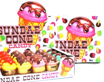 Sundae Cone Candy Containers Lot of 2 by Topps 1982
