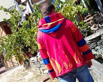 SALE ..HIS patchwork festival coat.... up cycled and super funked