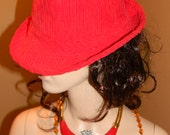 RED Fedora hat. Vintage Ladies HATS.. size One size fits most. Fall Corderoy silk lined hat.RED designer ladies fashion hat