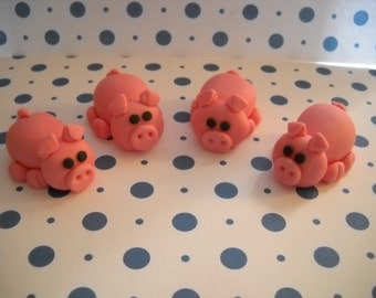 6 Little Fondant Piggies - Edible Cake and Cupcake Toppers