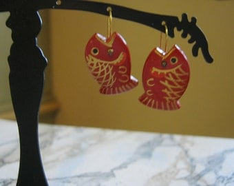 Vintage Red and Gold Fish Earrings