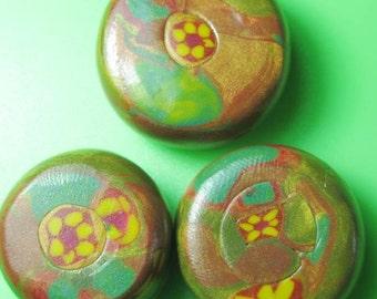 floral inspiration set of three handmade beads