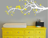 Wall Decal - white tree branch with hearts decal with birds - vinyl wall decal