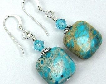 Turquoise Blue Aqua Terra Gemstones and Light Turquoise Swarovski Crystal Earrings