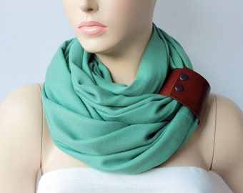 High quality infinity scarf ,pashmina fabric scarf ,circle scarf,Loop scarf  with genuine  leather cuff -CHOOSE YOUR COLOR
