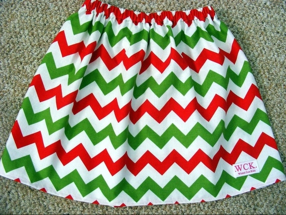 Christmas  Red, or Green  Chevron  Skirt (12 mos, 18 mos, 24 mos, 2T, 3T, 4T, 5, 6, 7)