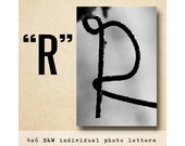 Letter R  Alphabet Photography  Black & White 4x6 Photo Letter