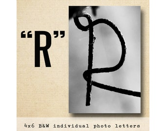 Letter R  Alphabet Photography  Black & White 4x6 Photo Letter