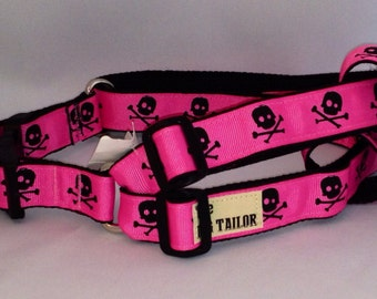 Pink skull and Crossbones Step In Dog Harness