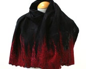 Hand Dyed, Nuno Felt Scarf on Cotton,  Winter Flame Collection, Black with Flame Red