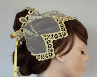 Juliet Cap Veil, Gold Embroidered Bridal Headpiece, Unusual Alternative Wedding Fascinator Cottage Chic Wedding Head Piece.