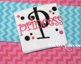 P is for Princess-- Embroidered shirt or bodysuit-Makes a great Baby Shower Gift