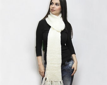 White Extra Long Knit Scarf, Wool Scarf, Winter Scarf with fringes by Solandia unisex winter fashion, mohair wool, ivory, elegant scarf