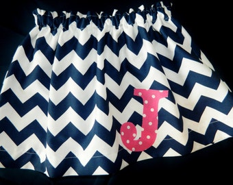 Girl, baby, toddler, tween navy blue chevron skirt with personalized intial applique sizes NB 3m 6m 12m 18m 2T 3T 4T 5 6 7 8 10 12 14 16