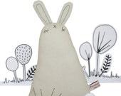 Stuffed Bunny Doll, Handmade Stuffed Animal, Plush Bunny Art Doll, Woodland Creature, Primitive Rabbit Fabric Doll, Brown, Neutral, Poosac