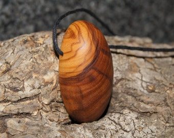 Olive Wood Pendant, wood jewelry, wood grain