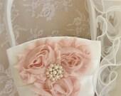 Flower Girl Basket Shabby Chic Blush and Cream Custom Colors Wedding Basket