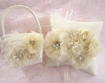 Flower Girl Basket, 3D, Ring Bearer Pillow, Flower Girl Basket Set Wedding Pillow Elegant and Classic