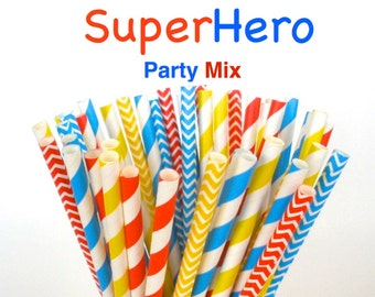 "Paper Straws ""SuperHero"" Mix Paper Drinking Straws Cake Pop Sticks Mason Jar Paper Straws Wedding, Birthdays"