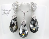 Dark Grey Bridal Earrings Black Bride Necklace Swarovski Crystal Silver Night Teardrop Wedding Jewelry Charcoal Gray Bridesmaid Earrings