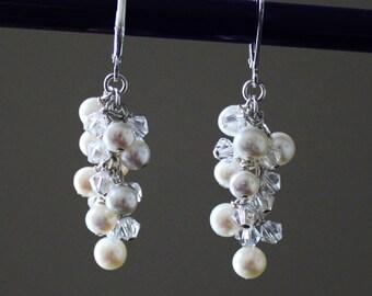 Bridal pearl earrings, Bridesmaid earrings, Fresh water pearl cluster drop earrings, Swarovski crystal earring, Long Pearl earrings, Wedding
