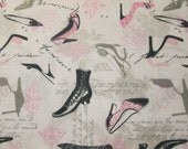 Vintage Paris Shoes Pumps Scribe Writing Cotton Fabric Fat Quarter or Custom Listing