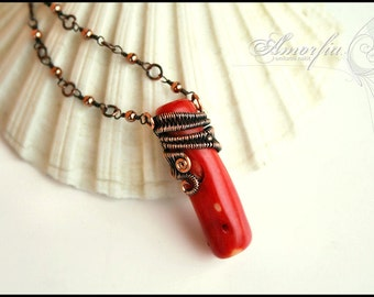 Coral and copper , wire wrapped necklace