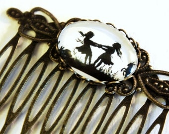 Dancing Sisters Silhouette Hair Comb bronzecolored - Special gift friendship daughter twin sister best friend jewelry
